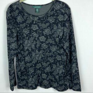 Ralph Lauren Black Grey Floral Long Sleeve Top XL